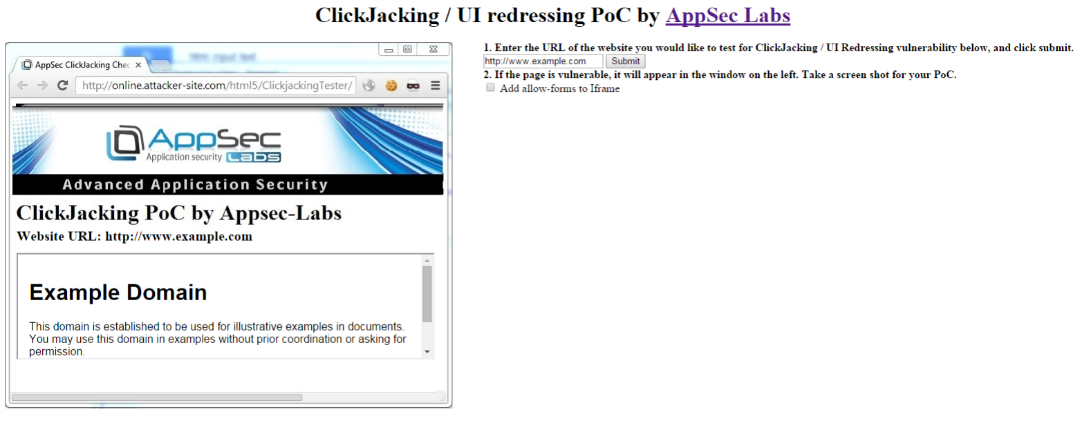 AppSec-Labs | Application Security | Online ClickJacking/UI